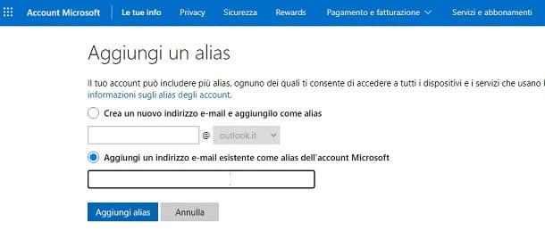 Aggiungere un alias al profilo Microsoft