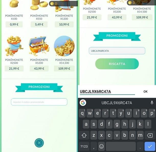 Riscattare codici Pokemon GO