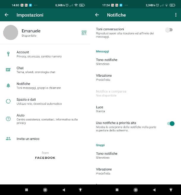 WhatsApp vibrazione