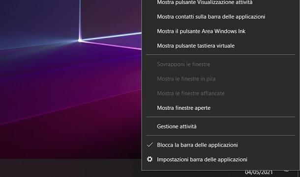 Bloccare barra applicazioni su Windows 10