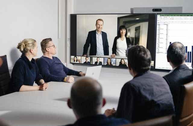Videoconferenza in sala riunioni