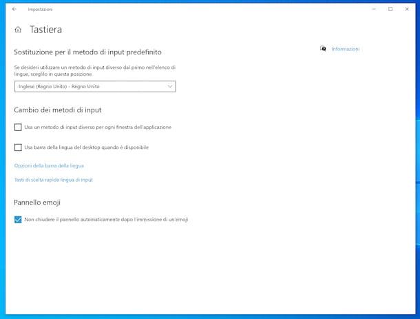 Input layout tastiera Windows 10