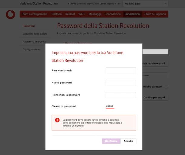Cambio password Vodafone Station Revolution