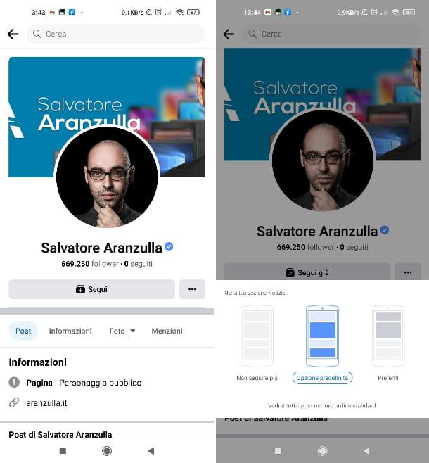Seguire pagina Facebook