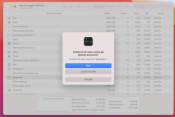 Chiusura applicazioni macOS