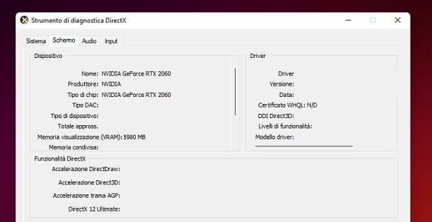 DxDiag Informazioni scheda video Windows