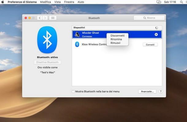 Eliminare dispositivi associati Bluetooth macOS