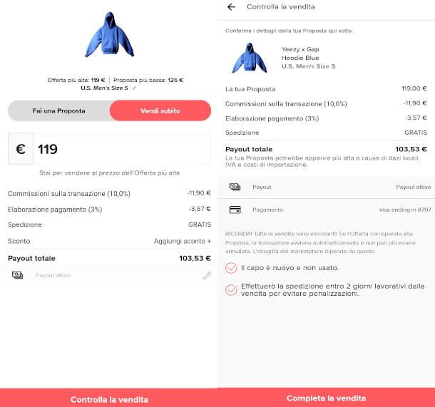vendita StockX da mobile