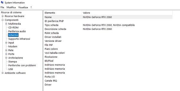 Come vedere che scheda video ho System Information Windows