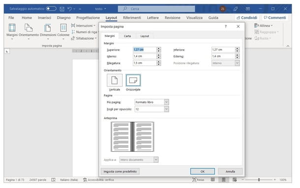 Word Windows stampare libro