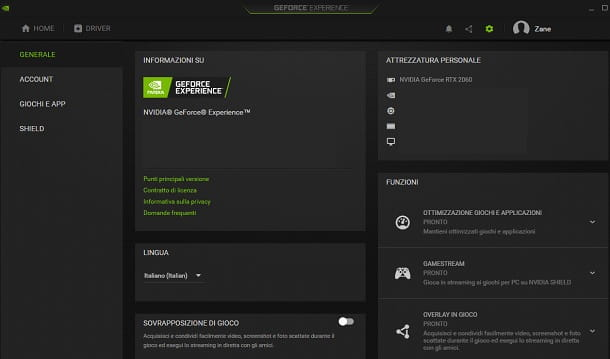 NVIDIA GeForce Experience nome scheda video