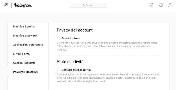 Come modificare profilo Instagram in privato